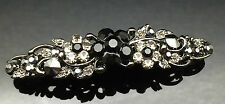 Exquisite Black Gray Diamante Wedding Crystal Hair Comb Clip Barrette 7cm Pin