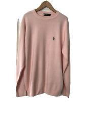 Polo Ralph Lauren Mens Pink Fine Knit Sweater 100% Cashmere Crewneck  XXL