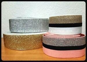 Sparkly Glittery Wide Stretch Elastic Waistband Cuff Gold Silver Pink Black blue