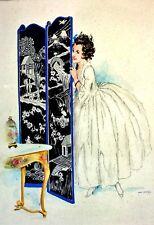 PORTRAIT DE DAME. AQUARELLE SUR PAPIER. OPI-VILEY (OPISSO?). ESPAGNE. CIRCA 1920