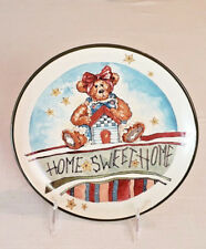 "Boyds Bears Bearwear Pottery Plate 2001 - ""Home Sweet Home"" Handmade in China"