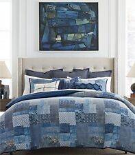 Tommy Hilfiger Oasis Indigo Patchwork KING Duvet Cover & Shams 3pc SET $300 NEW!