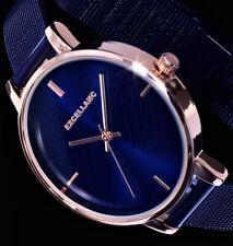 Excellanc Damen Uhr blau RoseGold Farben Mesh Milanaise Armband