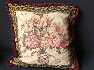RARE! Vintage Ralph Lauren *ARAGON LEOPARD Guinevere Decorative Floral Pillow