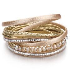 Trendy Women Multilayer Leather Rhinestone Crystal Beads Magnet Wrap Bracelet
