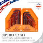 Allen Wrench Hex Key Set 30pc Set METRIC & SAE Standard Short Long Arm CrV Steel