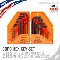 Allen Wrench Hex Key Set 30pc Set METRIC & SAE Standard Short Long Arm CrV Steel