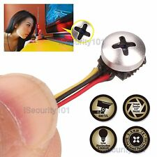 Mini Micro Spy Camera Cam Screw Pinhole Hidden Button Home CCTV Security 800TVL