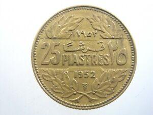LEBANON 25 PIASTRES 1952 LIBAN LIBANAISE Nice 844# Money Coin