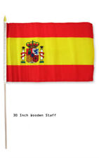 """12x18 Wholesale Lot 12 Spain Country Stick Flag 30"""" wood staff"""