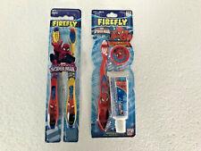 Firefly Spiderman Toothbrush Marvel Kids Comics Crest Soft Travel Kit Red Yellow