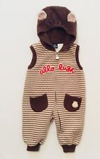 Allo & Lugh Korean Boutique Hooded Quilted Striped Brown Romper, 80 (US 18-24 m)