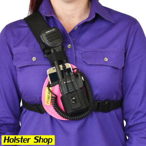 Phone & Radio Holster Chest Harness - Right - Pink - Two Ants Worker CT000SRPK