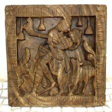 Old Indian Original Antique Hand Carved Hindu God Radha Krishna Wooden Panel