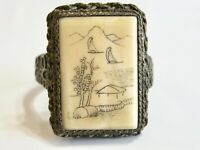 VINTAGE ASIAN ART DECO MEIJI CHINESE EXPORT FAUX SCRIMSHAW GLASS FILIGREE RING