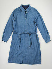 A.P.C Blue Denim Belted Button Down Shirt Dress Size Large
