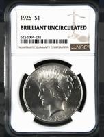 1925 Peace Silver Dollar - Brilliant Uncirculated BU Unc - NGC Graded *