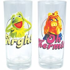 KERMIT THE FROG & MISS PIGGY SET OF 2 GLASSES TUMBLERS MUPPET SHOW RETRO GIFT