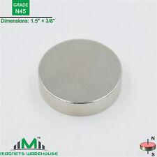 """1-count neodymium N45 Disc rare earth NdFeB magnets 1.5 x 3/8""""(true N45)"""