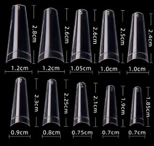 500 Coffin Nail Long Straight Ballerina Half Cover C Curve French False Tips