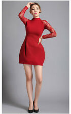 Women's Lace Sleeve Bud Style Pleats Dress  Size:14 Red