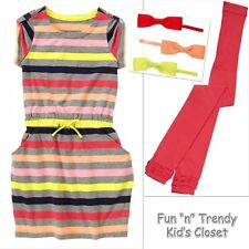NWT Crazy 8 Girls Size Small 5 6 Stripe Dress Tights Bow Barrettes 3-PC OUTFIT