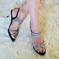 Womens Diamante Low Mid Heel Evening Shoes Ladies slingback Sandal Peep toe Size