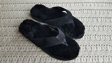 Men Genuine Shearling Suede Leather Slippers Flip-Flops Big Sizes KingSize Black