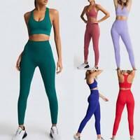 Damen Yoga Kleidung Anzug Trainingsanzug Jogginganzug Sportanzug Leggings Tops❤️