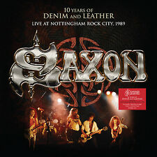 Saxon 10 Years of Denim and Leather Live 1990 Double LP Vinyl Europe Demon 2017