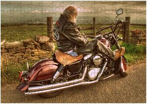 Retro Biker Motorbike A4 JIGSAW Puzzle Birthday Christmas Gift (Can Personalise)