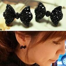 1 Pair Fashion Women Lady Black Crystal Rhinestone Butterfly Ear Stud Earrings