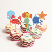 24pcs ocean cupcake toppers whale hippocampus starfish cake picks party decor KQ