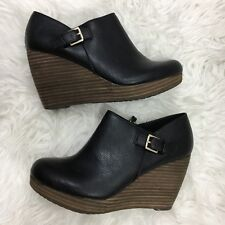 Dr Scholls Honor Wedge Boots 8 Black Leather Booties Zip Up Memory Foam Cool Fit