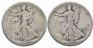 (2) 1923-S & 1917 Walking Liberty Half Dollars 90% Silver $1 Face Lot *258