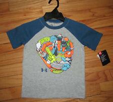 Under Armour Boys SS Gray Blue Inset Sleeves Baseball Shirt 4 NWT