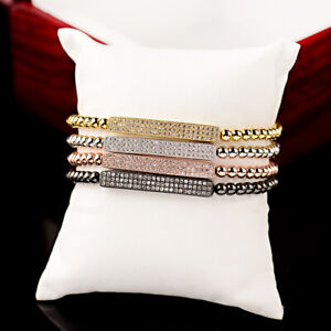 Luxury Micro Pave Men Girls Cz Bead Bracelets Gold Braided Charm Copper Bracelet