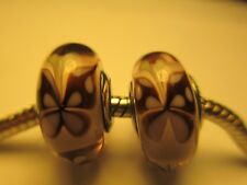 2 Authentic Pandora Silver 925 Ale Pink Butterfly Kisses Glass Bead Charm 791621