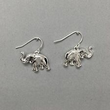 Theme Drop Dangle Style Earrings Silver Finish Elephant Animal Life Inspired
