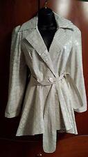 """NWT """"Et Dieu Crea La Femme"""" White Faux-Croc Print Belted Trench Coat IT 44"""