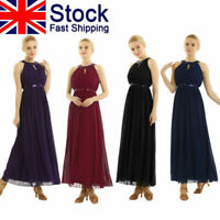 UK Womens Chiffon Wedding Bridesmaid Dress Long Evening Prom Gown Party Cocktail