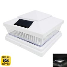 "8013 6""x 6"" Quality White Plastic and Wood Fence Post Cap Solar LED Light 78 Lum"