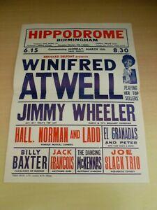 Winifred Atwell Jimmy Wheeler Birmingham Hippodrome Variety Theatre Flyer 1950's