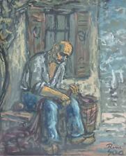 René GRAS (1911-2006) Pastel Le pêcheur Années 50 Expressionnisme Ecole de Paris