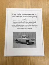 1968 Dodge D,W100,200 Pickup fact cost/dealer sticker price for truck+options 68