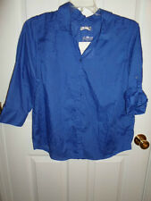 CROFT & BARROW ROYAL BRIGHT BLUE BUTTON DOWN SHEER COTTON SHIRT TUNIC TOP XL NEW