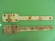 2 pentures charnières fer peint anciennes largeur 28 + 5 - 6 cm