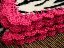 Zebra Striped Fleece Throw Blanket with Pink Crochet Trim Handmade