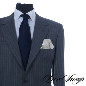 Brioni Made in Italy Traiano Mid Grey Ice Blue Pinstripe 3B 2V 2PIECE Suit 54 NR
