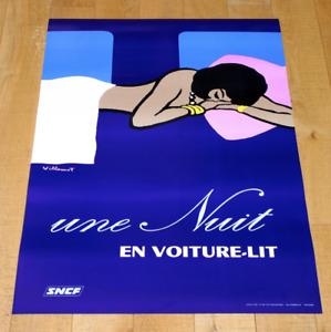 UNE NUIT EN VOITURE-LIT SNFC poster manifesto affiche Villemot Train Sleep A17